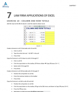 Excel Manual for Legal Professionals Sample Pages | Legal Microsoft Office Training